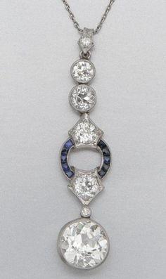 PLATINUM, DIAMOND AND SAPPHIRE NECKLACE, CIRCA 1920.
