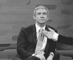 Martin Freeman denies your touch! (gif) lol