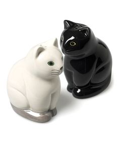 Loving this Black & White Sitting Cats Salt & Pepper Shaker - Set of Two on #zulily! #zulilyfinds