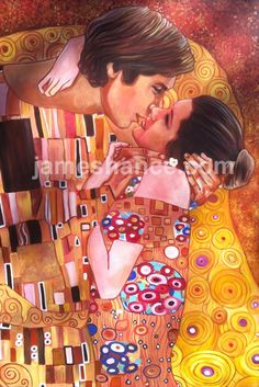 """If Gustav Klimt wouldn't approve of this, I'd be disappointed. Print by: James Hance Title: 'The Kiss' (Han & Leia) Size: 17""""x11"""""""