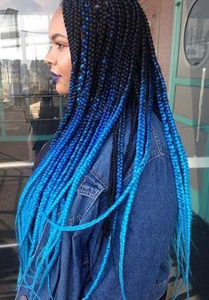 Wonderful Free Black to Blue Ombre Box Braids Style Braids are likely . , Wonderful Free Black to Blue Ombre Box Braids Style Braids are likely one of the oldest hairstyles that have been changed in numerous ways. Blue Box Braids, Ombre Box Braids, Colored Box Braids, Short Box Braids, Braids With Color, Purple Braids, Box Braids Hairstyles, Layered Hairstyles, Hair Updo