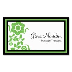 Bold Green Floral Massage Therapy Business Card