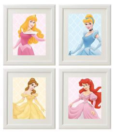 Princess Wall Art princess wall art - canvas or prints - pink gray nursery playroom