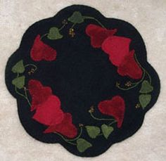 Ring of Hearts Penny Rug Candlemat Designed & stitched by Jan Mott of Crane Design. Check out my blog spot to see shops that offer this pattern.