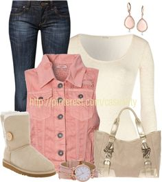"""Pink Vest & Uggs"" by casuality on Polyvore"