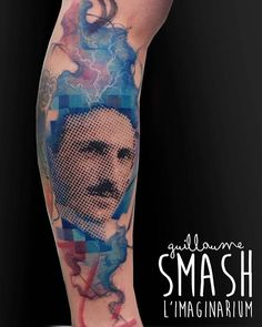 Nikola Tesla fait à @toxcitink  #tattoo #tattoos #tattrx #tatouage #ink #inked #inkstagram #graphictattoo #graphictattooartist #guillaumesmash #imaginariumtatouage #nikolatesla #nikolateslamuseum #pixelart #skinartmagazine #watercolortattoo #watercolor #colorful #tattoolife #tattoooftheday  @tattooistartmag
