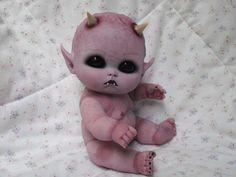 Ooak horror goth art doll  ~Mini  Demon baby  ~ Halloween Art Gothic Spooky Scare Devil DEMON BABY