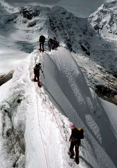 Climbing on a steepy ridge, Cordillera Blanca, Peru (by bibs69
