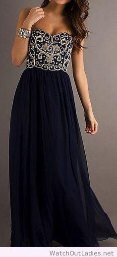 A Line Navy Blue Sweetheart Chiffon Dress