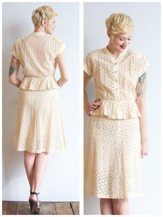 Blouse looks 1930's style, sleeves nto set in, v neck,waist defined. ALady 1940s Summer Suit // Miljay Eyelet Blouse & by dethrosevintage, $158.00