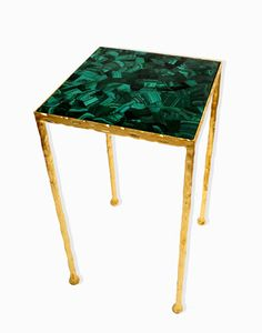 Toby Side Table - Semi-precious veneer inlay table top on a hammered wrought iron frame with a bright gold leaf finish