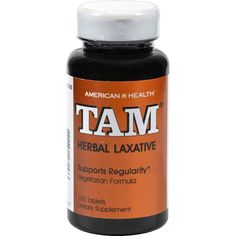 American Health Tam Herbal Laxative - 100 Tablets - American Health Tam Herbal Laxative Description:    Supports Regularity  Vegetarian Formula TAM herbal laxative tablets contain all-natural herbs for the relief of occasional constipation. Our forumla brings together the holistic properties of Cascara Sagrada and Senna two popular herbals that help promote regularity. TAM herbal laxative tablets contain no harsh synthetics so you can be assured of gentle yet efficient relief. Free Of…