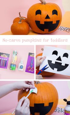 No-carve pumpkins for toddlers | There's no need for your pumpkin to go under the knife this Halloween! Try making this toddler-friendly version with our free printable template.