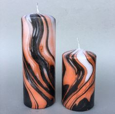 Copper & Black Marbled Pillar Candle
