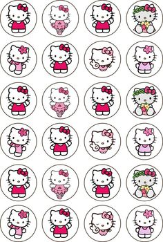 Hello Kitty (Various) Rice Paper 24 Edible CUPCAKE TOPPERS