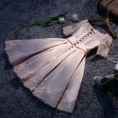 A-line satin lace short prom dress,homecoming dresses - Thumbnail 3