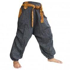 Thai pantalones mezcla de algodón con elástico - negro