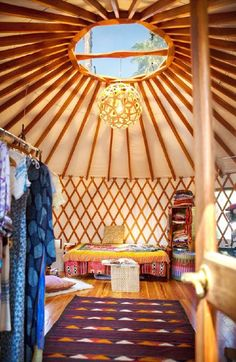 I have always dreamed of living in a yurt-J. Erin and Nathan's Boho Backyard Dream Office in a Yurt — House Tour Casa Yurt, Interior Flat, Yurt Interior, Interior Design, Pacific Yurts, Yurt Home, Yurt Living, Tiny Living, Outdoor Living