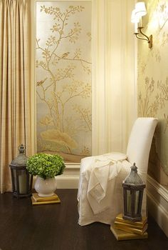 Hudson Interior Designs: Beautiful metallic silver & gold wallpaper, white slipper chair, gold linen curtains ...