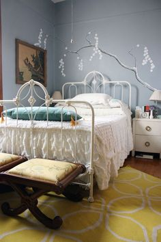 """Veronica & Keith's Handmade Chic — House Tour - Room color : Behr """"Cloud Burst""""."""