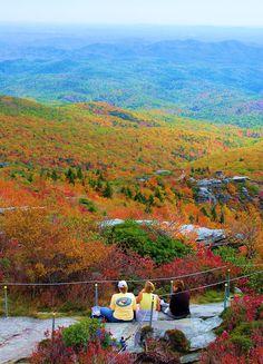 Enjoying fall color above the Blue Ridge Parkway in North Carolina - on the Rough Ridge hiking trail near Grandfather Mountain. South Carolina, Camping In North Carolina, North Carolina Mountains, Nc Mountains, Blue Ridge Mountains, Charlotte Nc, Places To Travel, Places To Visit, Blue Ridge Parkway