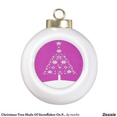 Christmas Tree Made Of Snowflakes On Pink Ceramic Ball Christmas Ornament #ChristmasTree Made Of #Snowflakes On #Pink Ceramic Ball #Christmas #Ornament http://www.zazzle.com/christmas_tree_made_of_snowflakes_on_pink_ceramic_ball_christmas_ornament-256983415234497642?CMPN=shareicon&lang=en&social=true&view=113292234589103074&rf=238616195033801520