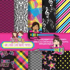 Clipart and Digital Paper por GabzStudio en Etsy Image Paper, Non Profit, Clipart, Girl Birthday, Etsy Seller, Rock, Stars, Creative, Party