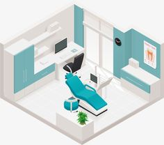 Illustration about Detailed isometric icon representing dental clinic room interior. Illustration of estate, medicine, office - 33618821 Dental Office Decor, Medical Office Design, Clinic Interior Design, Clinic Design, Dentist Clinic, Dental Design, Hospital Design, Vector Vector, Arquitetura