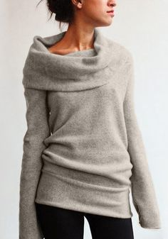 When its cold outside, wrap yourself in this almond cowl neck sweater. This stretchable, unlined number would look more exciting with black skinnies and booties. | Lookbook Store Sweaters