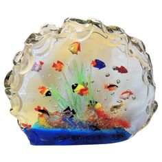 A Rare And Large Murano Glass Aquarium Glass Fish Sculpture Centerpiece | From a unique collection of antique and modern sculptures at https://www.1stdibs.com/furniture/more-furniture-collectibles/sculptures/