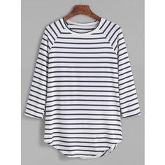 SheIn(sheinside) Contrast Striped Raglan Sleeve Curved Hem T-shirt