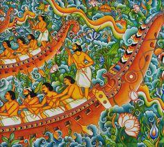 Swastik Murals -Canvas Kerala Mural Painting, Tanjore Painting, Painting Canvas, African Art Paintings, Original Paintings, Traditional Paintings, Traditional Art, Indian Art, Indian Gods