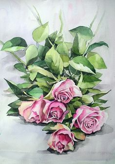 남일 수채화 Gallery Watercolor Rose, Watercolor Artwork, Watercolor Artists, Watercolor Cards, Watercolor Illustration, Art Floral, Floral Drawing, Watercolor Projects, Art Drawings For Kids