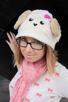 Another hat I modeled for AthenasWink hats! :D Buy them on Etsy! :D    heart sheep Fleece Hat Anime Manga Cosplay Rave by AthenasWink, $25.00