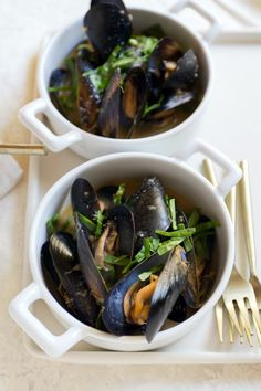 Date Night: Sake Miso Mussels with Wilted Greens For Two - Aida Mollenkamp