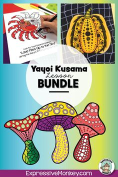 Yayoi Kusama art lesson bundle!  This set will not only help you draw mushrooms History Lessons For Kids, Art Lessons For Kids, Art Activities For Kids, Art Lessons Elementary, Art For Kids, Drawing Games, Drawing For Kids, Art Classroom Management, Eternal Soul