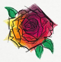Blazing Rose | Urban Threads: Unique and Awesome Embroidery Designs
