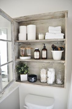 DIY Window Cabinet by Craftsman Drive. Add much needed storage to a typical empty space in a bathroom.