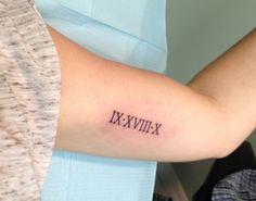 The latest trend: roman numeral tattoos - inkaway laser tattoo removal Bicep Tattoo Women, Foot Tattoos For Women, Forearm Tattoos, Finger Tattoos, Sleeve Tattoos, Tattoos For Guys, Roman Numeral Tattoo Font, Roman Numbers Tattoo, Roman Numerals