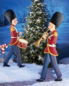 Marching Christmas Toy Soldier Garden Stake