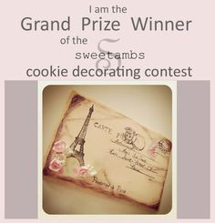 Congratulations to Dawn of Pop-A-Razzi!! Her springtime in Paris postcard cookie is the grand prize winner in the Spring Cookie Decorating Contest!I love Dawns creative use of the techniques. The delicate details, originality and vintage look of th