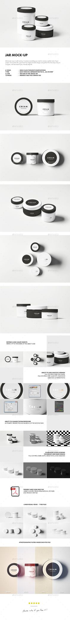 Buy Jar Mock-up by on GraphicRiver. Jar Mock-up Advanced, easy to edit mockup. It contains everything you need to create a realistic look of your project. Skincare Packaging, Cosmetic Packaging, Beauty Packaging, Brand Packaging, Design Packaging, Label Design, Mockup Photoshop, Packaging Design Inspiration, Design Elements