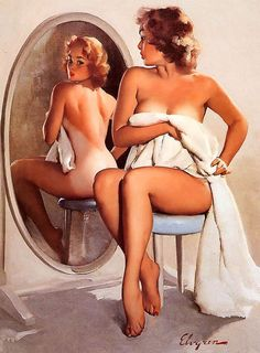 A sultry pin up girl checking out her tan lines after some fun in the sun! :: Pin up girl illustrations:: Pin Up Artwork Pin Up Vintage, Retro Pin Up, Photo Vintage, Retro Vintage, Vintage Woman, Vintage Cartoon, Vintage Girls, Vintage Metal, Pinup Art