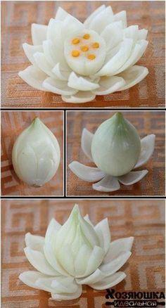 Cool Vegetables Garnish Ideas🎀🎀 by Vinita ❤️❤️ - Musely Veggie Art, Fruit And Vegetable Carving, Food Crafts, Diy Food, Deco Fruit, Fruits Decoration, Onion Flower, Food Sculpture, Creative Food Art