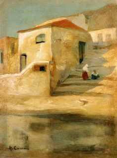 .:. Οικονόμου Μιχαήλ – Michail Oikonomou [1888-1933] Σπίτι με σκαλοπάτια Greece Painting, Street Art, Name Paintings, House By The Sea, Painter Artist, Modern Artists, Gravure, Watercolor Landscape, Art World