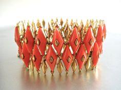 Coral Harlequin CORO PEGASUS Bracelet Geometric by RenaissanceFair