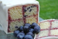 Blueberry & Vanilla Battenberg recipe by Ruth Clemens.