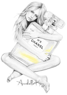 FASHION ILLUSTRATION by annabelle king completed using pencil, ink and digital colouring // www.annabellesillustrations.com chanel no 5 fashion illustration featuring the iconic perfume by coco chanel