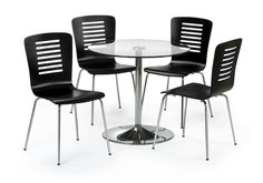 Designer style at a great value price Compact dining table seats four Round tempered glass top and chrome-finished pedestal base Pedestal Dining Table, Wooden Dining Tables, Dining Table Chairs, Round Dining Set, Dining Room Sets, Home Furniture Shopping, Furniture Village, Compact Table And Chairs, Contemporary Home Furniture