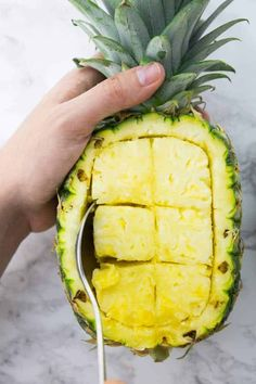 A Hand Spooning Pineapple Pieces out of a Pineapple to Make a Pineapple Bowl Rice Recipes Vegan, Vegan Dinner Recipes, Vegan Dinners, Indian Food Recipes, Vegetarian Recipes, Vegan Vegetarian, Thai Pineapple Fried Rice, Pineapple Bowl, Pineapple Salsa